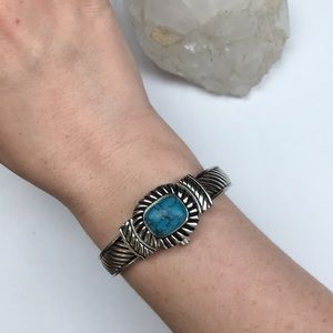 Vintage silver turquoise southwestern watch boho